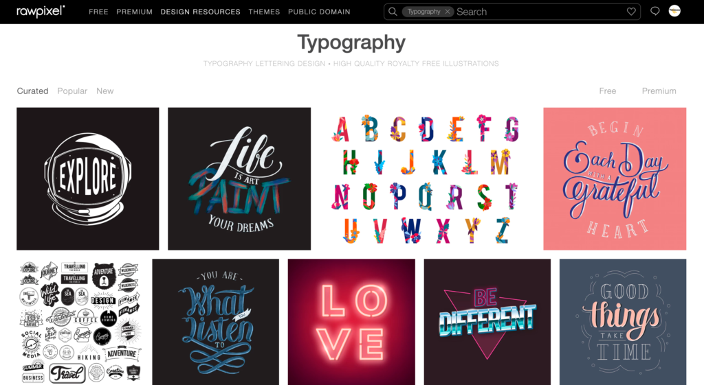 Royalty-free graphic designs on RawPixel