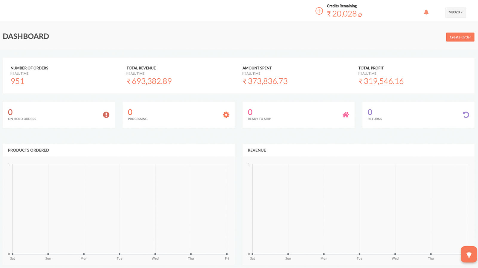 Printrove merchant panel Dashboard